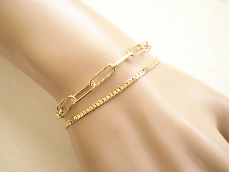 Gold Chain Bracelet...Layering bracelet bridesmaid gift Custom Length chain Flat Snake chain Flat curb chain