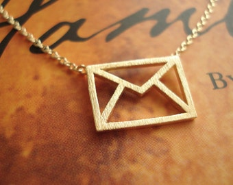 Gold mail envelope necklace...dainty minimalist handmade, everyday simple, birthday, sorority, wedding jewelry, bridesmaid gift, love letter