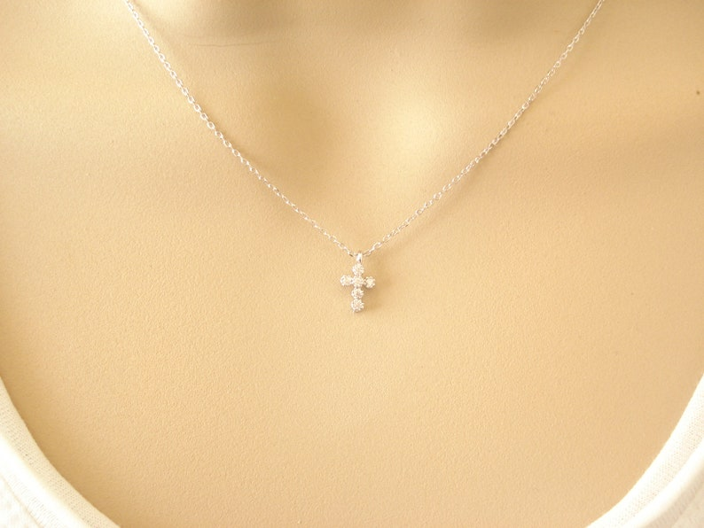 Faith wedding Petite Cross necklace in gold or silver..simple everyday bridesmaid gift religious jewelry bridal jewelry