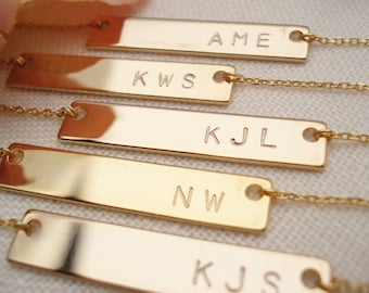 Hand stamped gold bar necklaces...personalized handmade, best friends gift, monogram, bridesmaid gift, customized jewelry