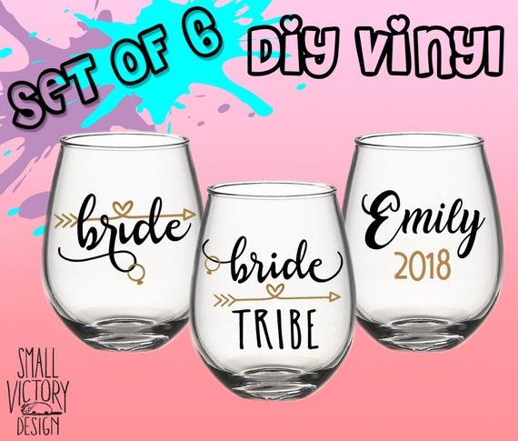 Bride Tribe Vinyl Sticker DIY Wine Glass Decal Wedding Sticker