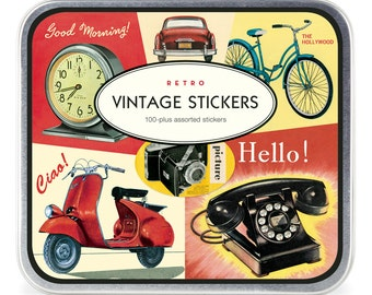 Decorative Sticker set  retro vintage in metal box srcapbooking packaging vintage stickers