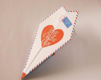 Printable Paper Airplane Valentines / Anniversary Card