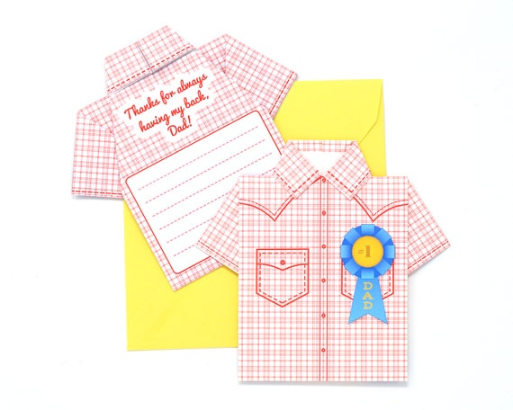 Diy Fathers Day Origami Shirt Card Kit Western Hero Etsy