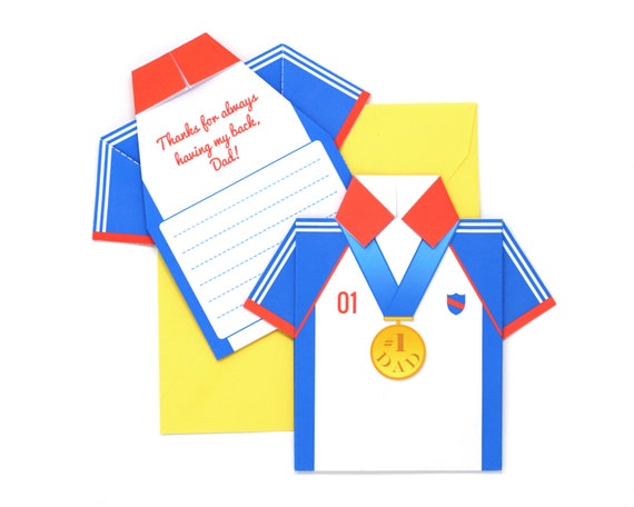 Diy Fathers Day Origami Shirt Card Kit Olympic Hero Etsy