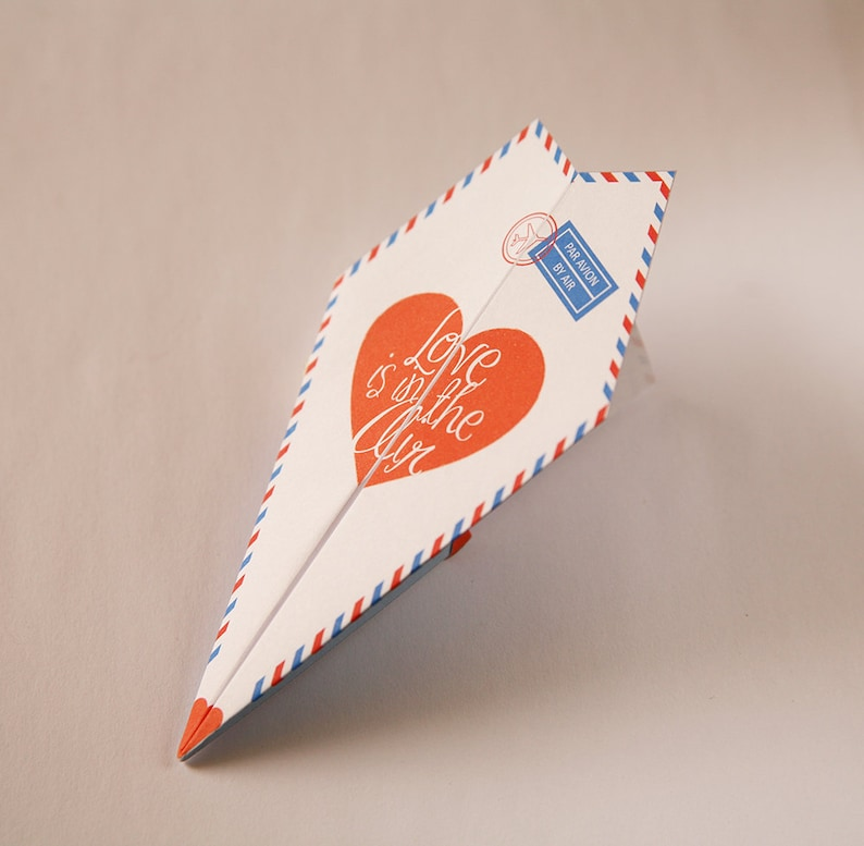 picture about Paper Airplane Printable known as Printable Paper Aircraft Valentines / Anniversary Card