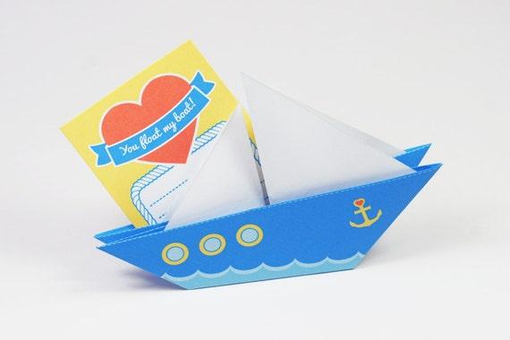 Printable Diy Origami Paper Love Boat Card Etsy