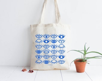 Tote bag cotton natural Eyes/ screen print blue / hand lettering