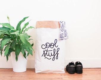 Grand sac papier géant / stockage rangement jouets chambre / blanc kraft sérigraphié / Cool stuff