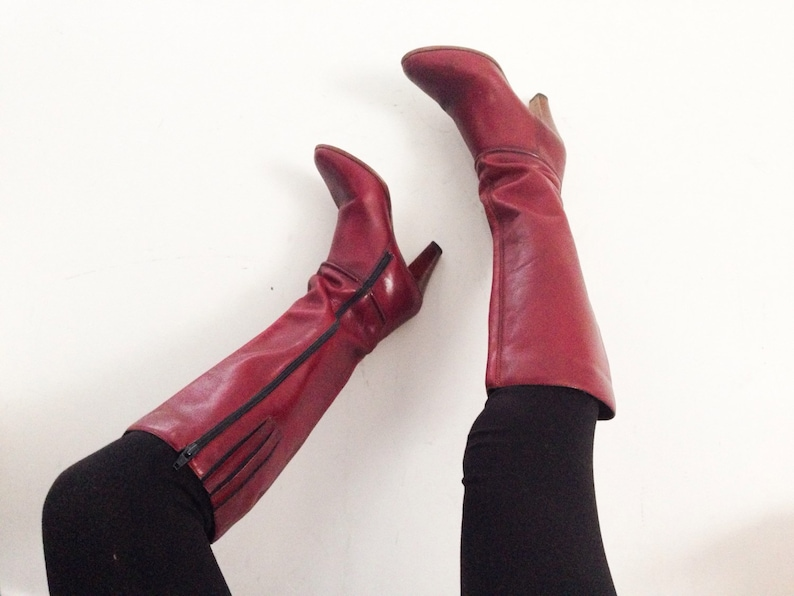 082da7844b7 Red wine leather knee high boots
