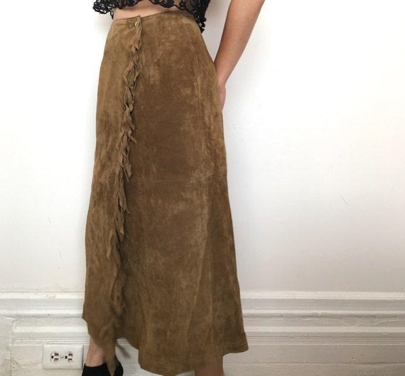 brown fringe suede leather skirt
