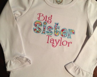 Big sister applique ruffle shirt