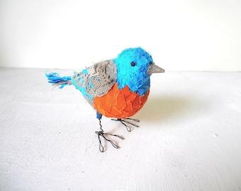 Bird Sculpture Handmade Blue Orange Gray fabric figurine unique home decor gift idea Ready to Ship