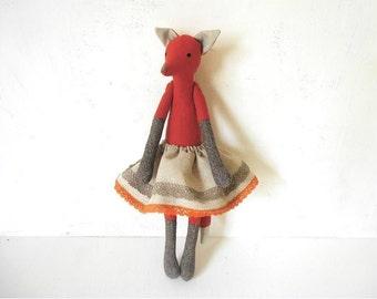Fox Doll Soft Cloth Art Doll natural linen and woll Rusty fabrics eco friendly toy Nursery Room Decor