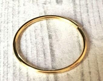 14K Gold Hoop Ring, Extra Large Hoop, 13mm, 14mm, 15mm or 16mm, 12, 14, 16, 18 or 20 Gauge, Continuous Hoops, 14K Gold Earring, Endless Hoop
