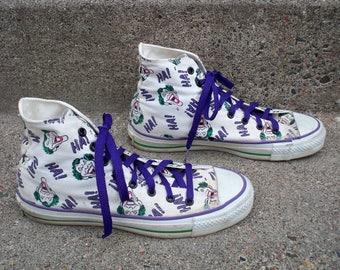 6a31c93b1801f3 Vintage CONVERSE The Joker DC Comics 1989 Chucks All Star High Top Shoes  Men s Sneakers Kicks Made in USA Size 7