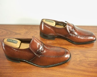 6310f7a5da Vintage Nunn Bush Brown Leather Men s Loafers Slip Ons Dress Shoes Made in  USA Size 9.5