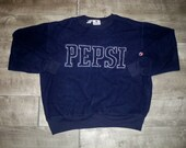 Vintage Pepsi Sweatshirt Blue Men 39 s Pullover Fleece Sweater Spell Out Size Small