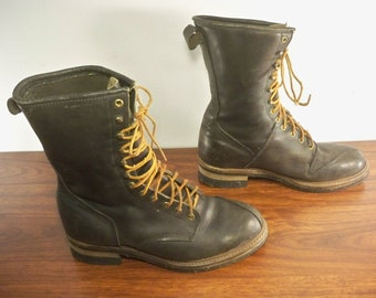 27dc9507513c Vintage Black Leather Men s Shoes Engineer Motorcycle Boots Sears Soft Toe  70s Size 11 Wide