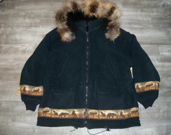 1bddb0d3c59d Vintage Handmade Fur Hood Eskimo Winter Men s Parka Jacket Coat Size XLarge  XL