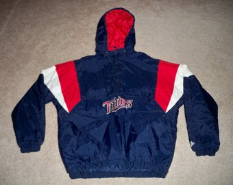 0f81035303f Vintage Majestic Minnesota Twins MLB Blue   Red Baseball Men s Pullover  Jacket Coat Size XLarge XL
