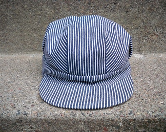 c1fc68fd5441f Vintage Broner Railroad Conductor Engineer Stripe Cap Hat Size Large Made  in USA