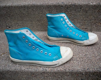 Vintage Trax Teal Blue High Top Men s Athletic Shoes Sneakers Kicks Made in  USA Size 7.5 6e4bb50a1