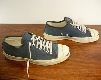 dc2c585c4a8f54 Rare Vintage Converse Low Top Canvas JACK PURCELL Blue Shoes Size 8 Made in  USA