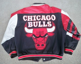 Vintage Chicago Bulls Nba Jordan Era Leather Jacket j.h. Jeff Hamilton Large Products Hot Sale