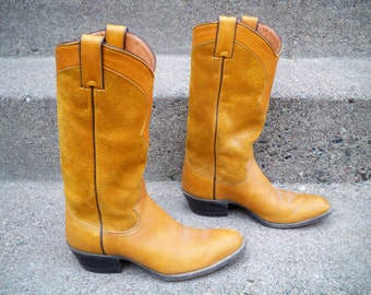 163749ec4cbc Vintage Justin Brown Roper Rockabilly Suede Biker Womens Cowboy Cowgirl  Boots Size 6 Made in USA