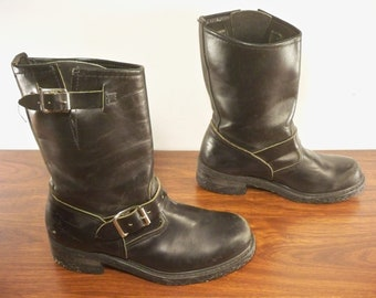 efcf2da4ea94 Vintage Women s Shoes Engineer Motorcycle Boots Sears  Black Leather Soft  Toe 70s Size 7.5 US