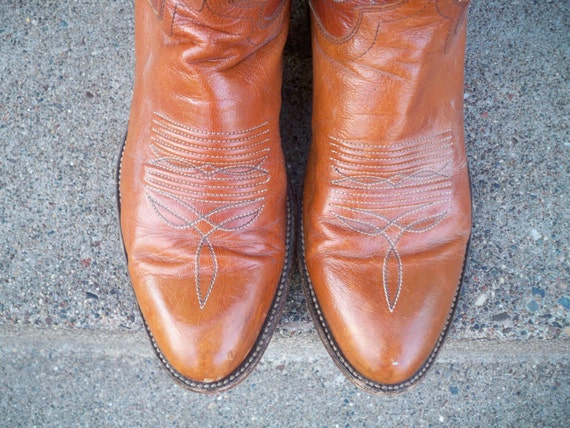 Western Brown Mens in Made Size USA Cowboy 8 Boots 5 Leather Post Rancher Dan Vintage Riding EXw1qYq