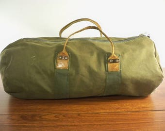 Vintage Gokey Green Canvas Duffle Gym Carry On Hunting Overnight Weekender Travel Luggage Bag Made in USA