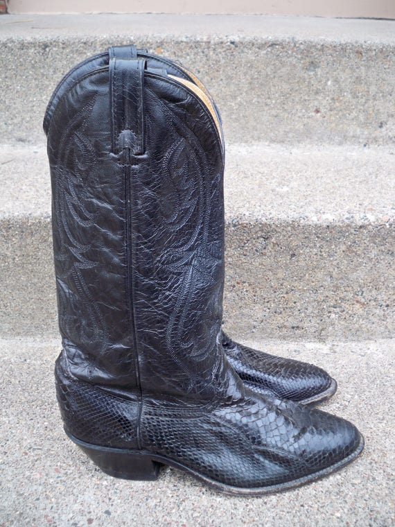 Made noir en Western taille serpent in Cowboy Vintage USA ACME cuir 5 DINGO hommes bottes 8 Tirette peau 7wqgYw