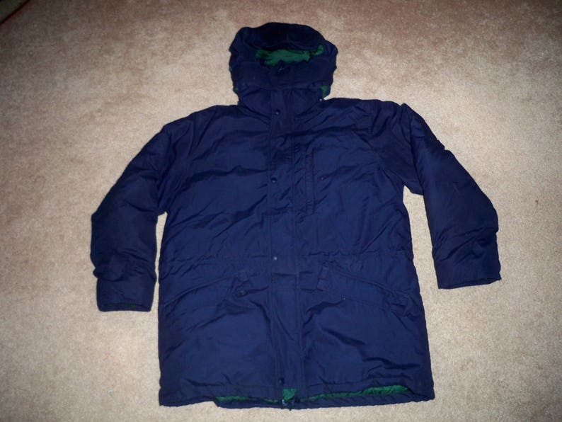 077169ebc Vintage Eddie Bauer Parka Goose Down Puffy Puffer Men's Blue Coat Jacket  Size Medium