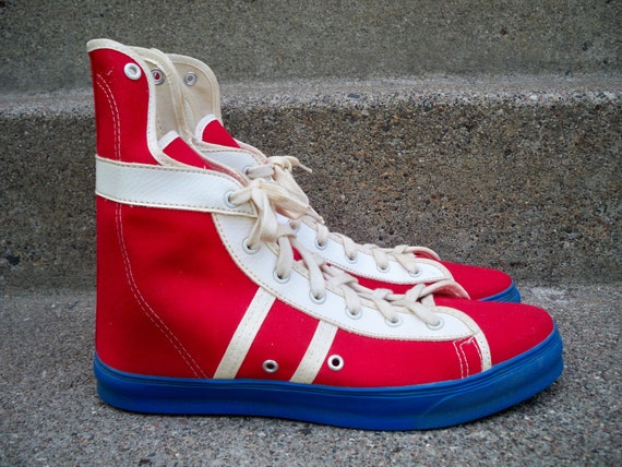 Vintage CONVERSE Phil Esposito Red Canvas High Top Street Hockey Men's Shoes Sneakers Kicks Made in USA Size 11.5