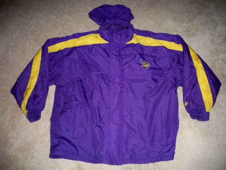 info for f004b 9af97 Vintage Puma Minnesota Vikings NFL Starter Football Parka Jacket Coat Men's  Size 2XL 2xlarge