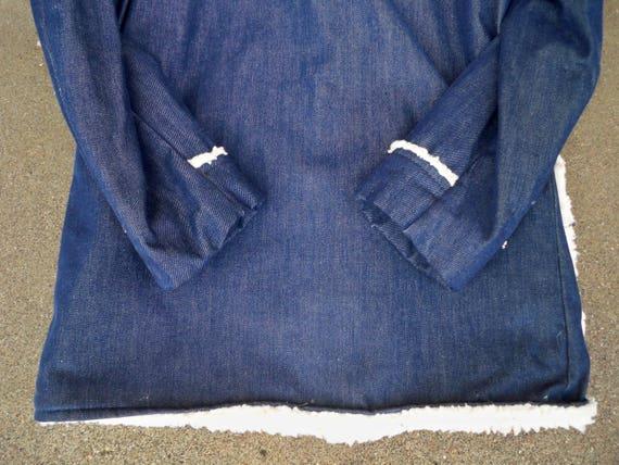 Blue Size JcPenney Button Denim Sherpa Long Medium Men's Vintage Barn Hipster Trucker Hn6x6