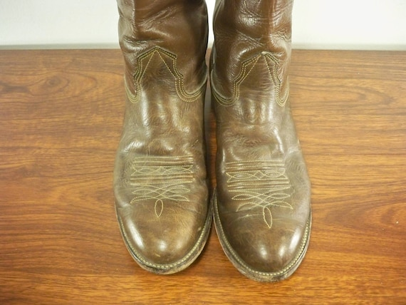 On Boots Made Soft Nocona Cowboy Pull Riding in Brown Leather Vintage Western Size USA Rancher Men's 9 7FPzwwxq