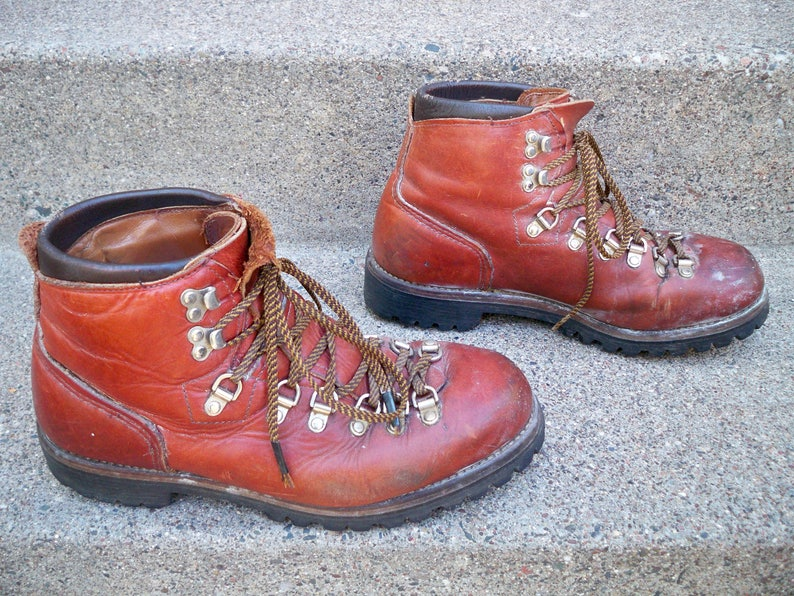 e0236107a7490 Vintage Red Wing Irish Setter Mountaineering Hiking Brown Leather Trail  Camping Men's Boots Size 8.5 Made in America