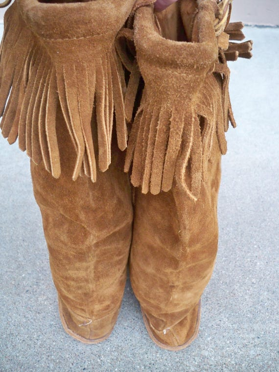 Leather Size Vintage 7 Moccasin Boots Renaissance Brown Fringe Leather Women's Mukluk Hippie wTwYxf