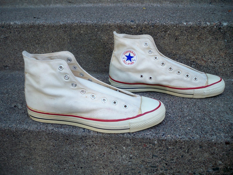 Vintage Converse All Star High Top Tan Canvas Mens Sneakers Shoes Hipster Kicks Size 13.5 Made in USA