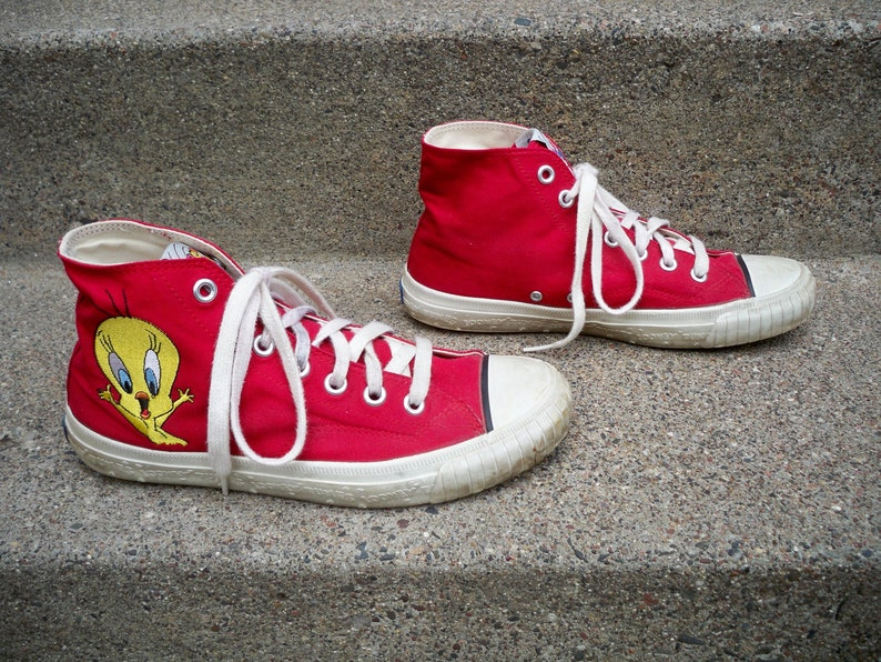 Vintage 90 s Keds Looney Tunes Cartoons Red High Top Shoes  42fee9ac4