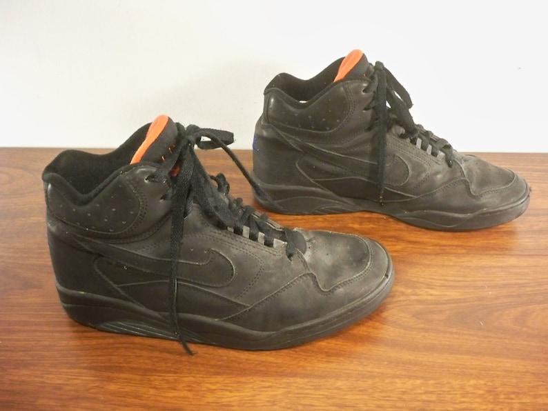 8ce81ab3ee1 Vintage 1993 Nike Flight High Top Black Leather Men's | Etsy