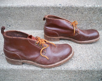 Vintage Made in USA Russet Leather Sport Hunting Combat Chukka Men's Aircork Bearfoot CORK SOLES Soft Toe Boots Size 12 Extra Wide