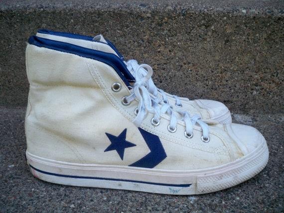 Vintage CONVERSE ABA Pre NBA Basketball Athletic Footwear White Blue Canvas High Top Men's Dr. J Sneaker Shoes Size 8.5