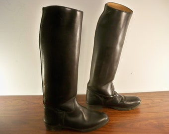 Vintage Black Leather Women's Equestrian Knee High Riding Boots Size 7.5 Wide