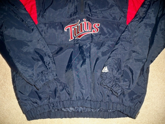 Minnesota Jacket XLarge Baseball Pullover XL MLB Blue Men's Red Twins Size amp; Majestic Coat Vintage Zq54p