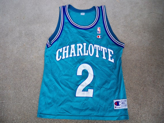 Vintage Champion Charlotte Hornets Larry Johnson NBA  f97024b7a