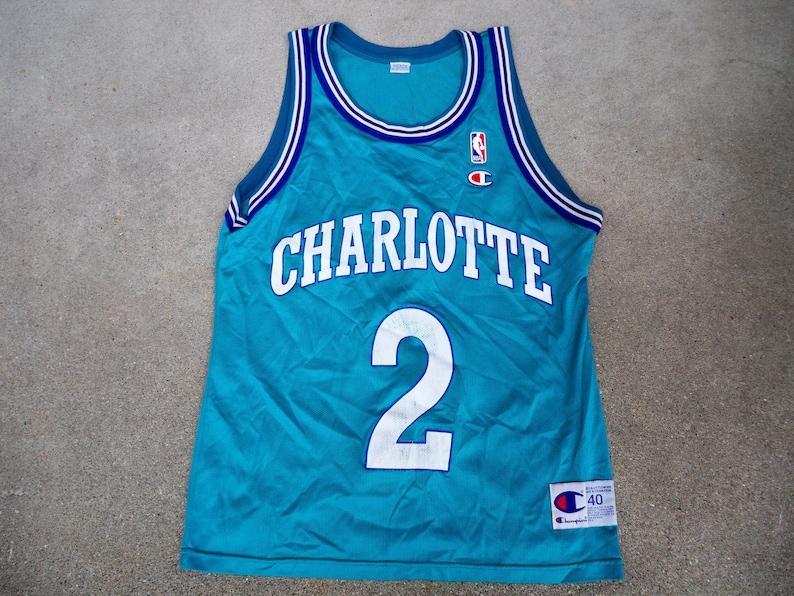 c4e5d66d2 Vintage Champion Charlotte Hornets Larry Johnson NBA | Etsy